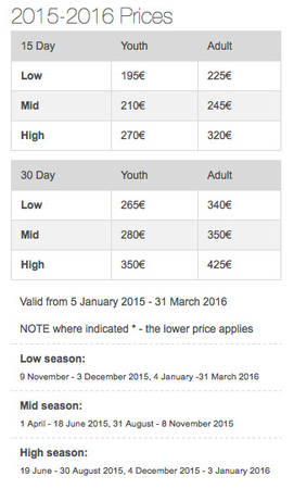 Bảng giá Eurolines 2015-2016.