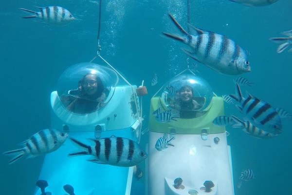 Để chơi trò đi tàu lượn Scooter dưới đáy biển trong 30 phút, du khách phải trả chi phí 150 USD/người (200 USD hai người).